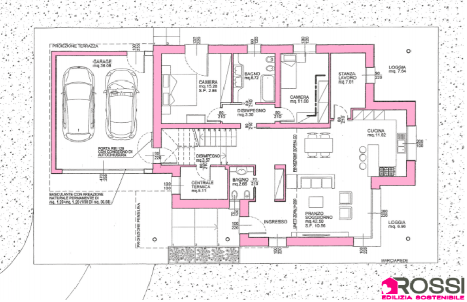 Pianta del piano terra della villa efficiente costruita dall'impresa Rossi F.lli
